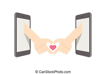 Hand sign language heart symbol shape between two smartphone set Love Couple concept idea illustration isolated on white background, with copy space