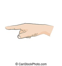 Hand-sign language.  Pointer, direction