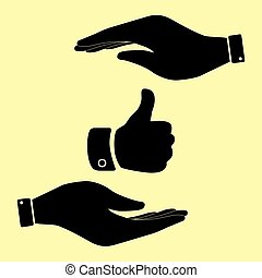 Save or protect symbol by hands. - Hand sign. Save or...