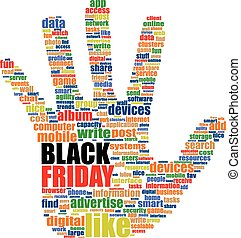 Hand sign with social media word cloud. Black friday. Vector illustration
