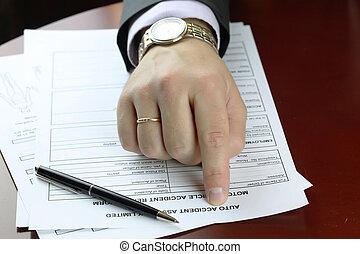 hand signature form car accident