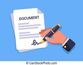 hand signs an important document. flat vector illustration.