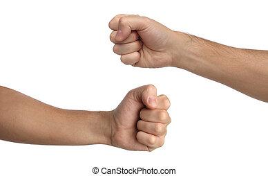 hand, signs., stansa, näve, isolerat