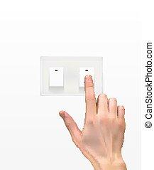 hand, silhouette, 3d, switch, realistisch, licht