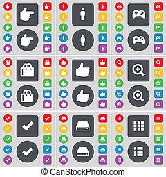 Hand, Silhouette, Gamepad, Shopping bag, Like, Magnifying glass, Tick, Hard drive, Apps icon symbol. A large set of flat, colored buttons for your design.