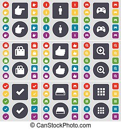 Hand, Silhouette, Gamepad, Shopping bag, Like, Magnifying glass, Tick, Hard drive, Apps icon symbol. A large set of flat, colored buttons for your design. Vector
