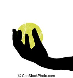 Hand silhouette holding a tennis ball