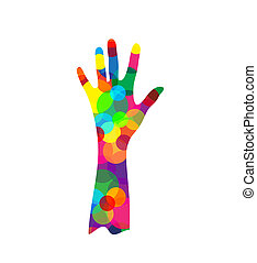 hand silhouette made of colored circles isolated on white...