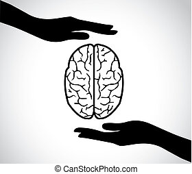 hand silhouettes protecting a human brain or mind - mental health services icon or symbol concept design vector illustration art