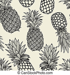 hand, sketch., gezeichnet, ananas