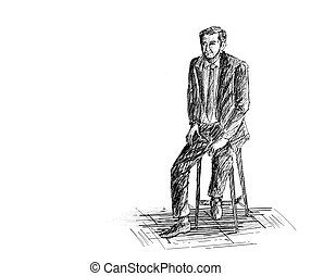 Hand Sketch Man Sitting on the chair.