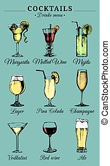 Hand sketched alcoholic beverages and cocktails glasses....