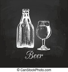 Hand sketched craft beer bottle and glass. Vector lager illustration on chalkboard. Graphic design concept for bar menu.