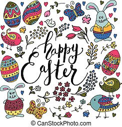 Hand sketched Happy Easter text with Easter objects