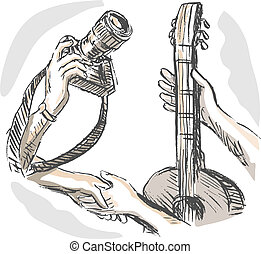 hand sketched illustration of Barter swapping hands with camera and guitar