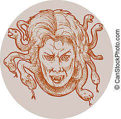 hand sketched illustration of gorgon female monster Medusa of the greek Mythology who has snakes as hair.