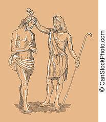 hand sketched illustration of Saint John the baptist baptizing Jesus Christ the savior