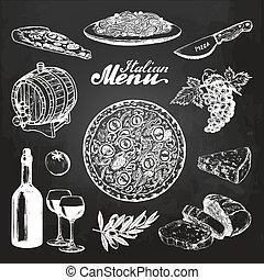 Hand sketched italian menu. Vector mediterranean cuisine food sketches on chalkboard. Illustrations for cafe, bar menu.