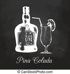 Hand sketched rum bottle and pina colada glass. Alcoholic...