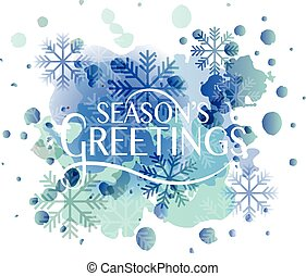 Hand sketched Season's Greetings logotype, badge and icon typography. Hand drawn lettering of Season's Greetings for Christmas/New Year greeting card template. Season's Greetings banner, flyer