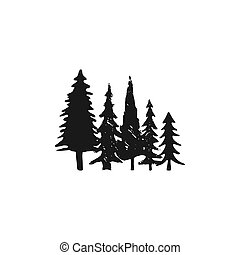 Hand sketched trees set in silhouette monochrome style. Stock Vector pine tree symbol, illustration isolated on white background.