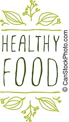 Healthy food - product label on white background.