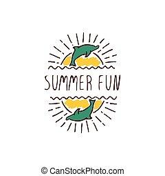 hand-sketched, typographic, element, hos, delfin, og, sol