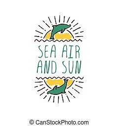 Hand-sketched typographic element with dolphin and sun