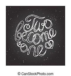 Hand-sketched typographic elements on chalkboard background for wedding design