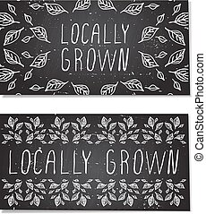 Hand-sketched typographic elements on chalkboard background...