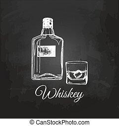 Hand sketched whiskey bottle and glass. Vector illustration of scotch set on chalkboard for bar, restaurant etc.