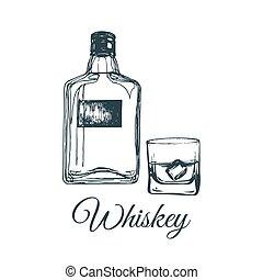 Hand sketched whiskey bottle and glass. Vector illustration of scotch set. Vintage alcoholic drink menu design concept.