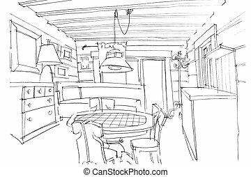 hand sketching of a modern kitchen interior