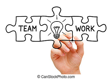 Teamwork Great Idea Puzzle Concept