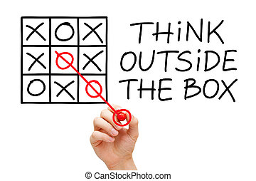 Hand sketching Think Outside The Box concept with red marker on transparent wipe board.