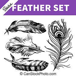 hand, skiss, fjäder, oavgjord, set., illustrationer