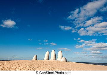 hand, skulptur, der, symbol, von, punta del este, uruguay