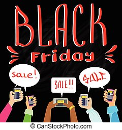 Hand Smart Phone Communication Send Chat Message Black Friday