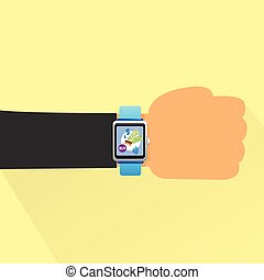 hand smart watch flat design vector
