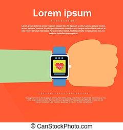 Hand Smart Watch Heart Pulse Monitor Icon Flat Vector