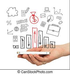 hand, smartphone, och, affärsverksamhet strategi