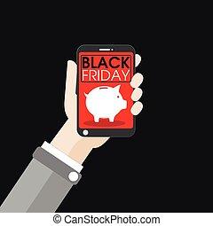 Hand Smartphone Piggy Bank Black Friday Flat