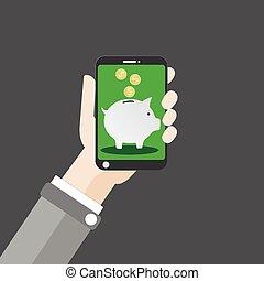 Hand Smartphone Piggy Bank Dollar Flat