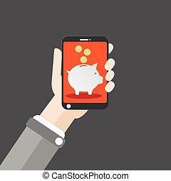 Hand Smartphone Piggy Bank Flat