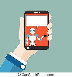 hand, smartphone, robot, tekstballonetje, plat