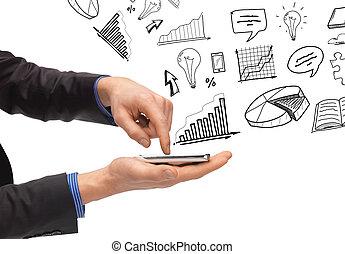 hand, smartphone, vasthouden, iconen