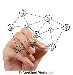 hand, sociaal, netwerk, structuur, verlekkeert