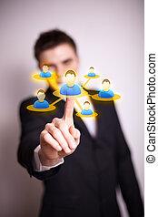 hand, sociaal, pictogram, netwerk, dringend