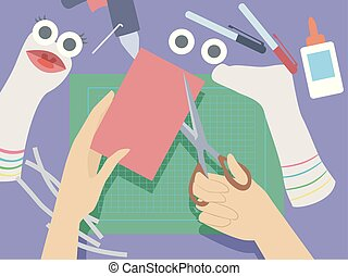 Illustration of Hands Holding Scissors Cutting Felt for the Mouth of Sock Puppets