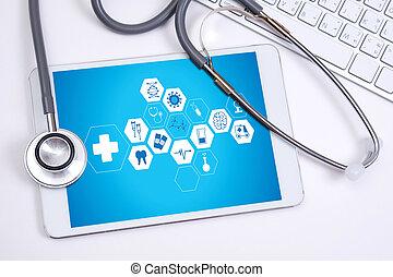 hand, sorgfalt, arbeitende , professionell, doktor, schnittstelle, edv, gesundheit, medizinprodukt, modern